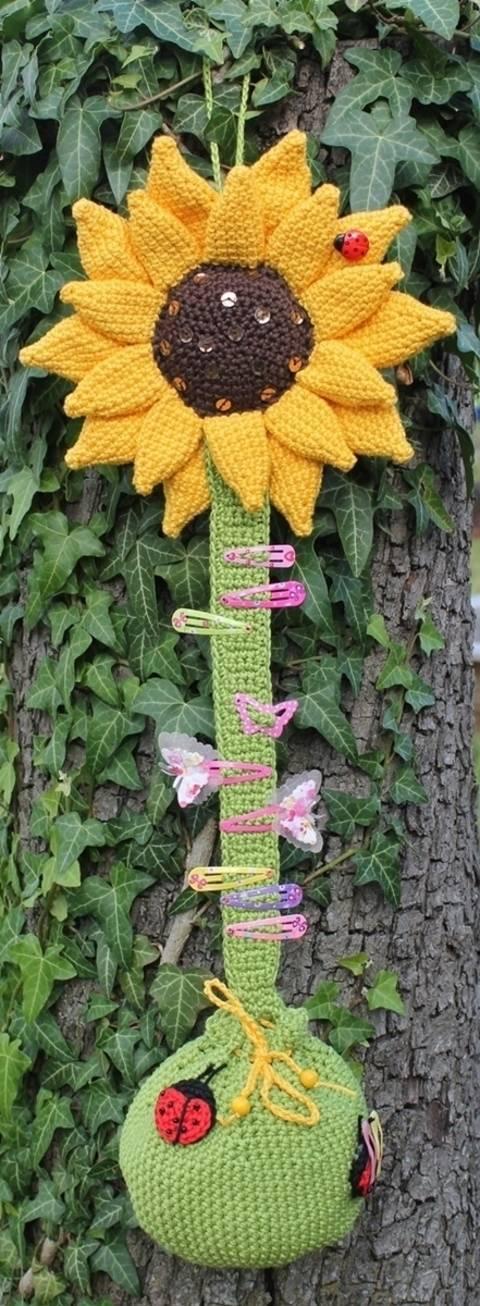 Häkelanleitung Haarspangen- und Zopfgummihalter Sonnenblume bei Makerist sofort runterladen