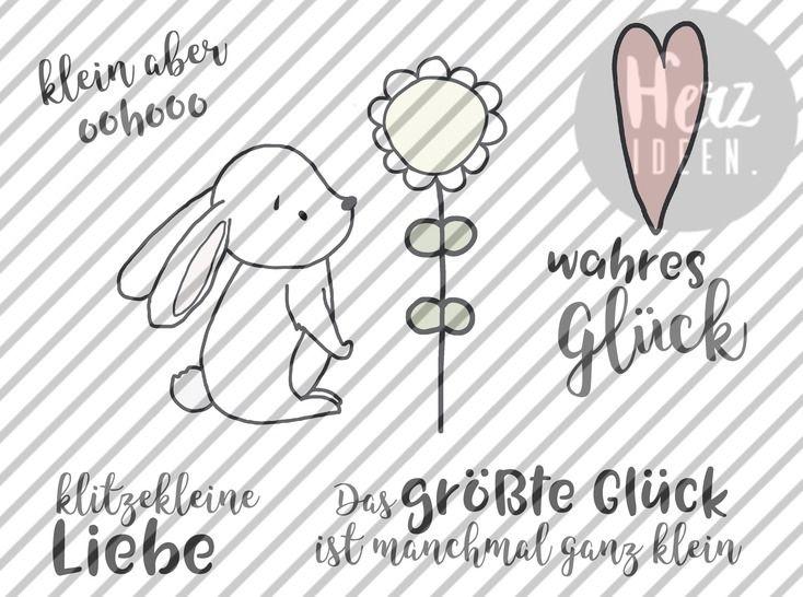 """Plotterdatei """"Kleines Glück Hase"""" DXF SVG - Herzideen - Plotterdateien bei Makerist sofort runterladen"""