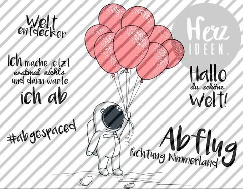 "Plotterdatei ""kleiner Astronaut Ballons"" DXF SVG - Herzideen bei Makerist sofort runterladen"