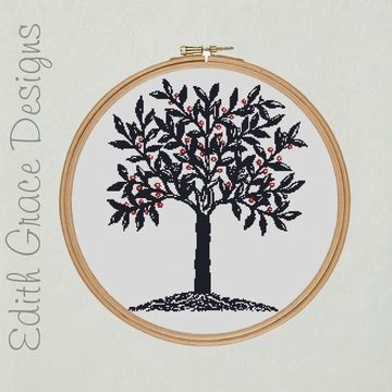 Download Embroidery Design - Blue Tree - Embroidery Patterns immediately at Makerist