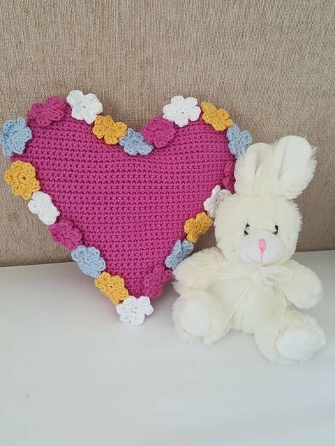 Download Crochet Cushion, Heart Spring Flowers, Pattern No35, in both UK and US crochet terms immediately at Makerist