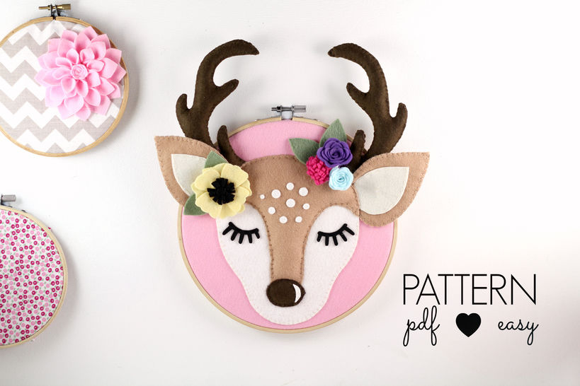 Download Deer Antler Nursery Art Pattern - Woodland Nursery - Deer Head Felt Sewing Pattern  - Sewing Patterns immediately at Makerist
