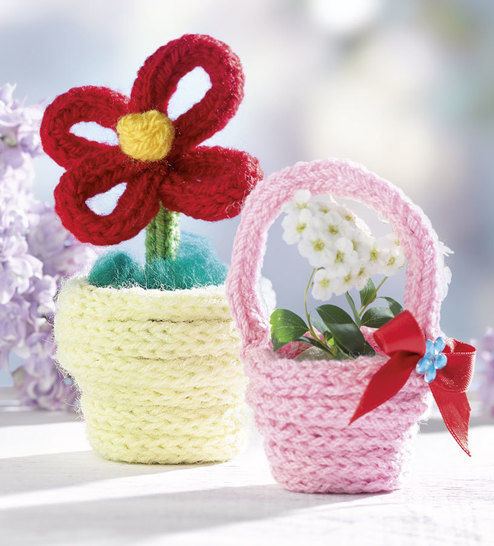 Blumentopf Und Körbchen Anleitung Für Strickliesel