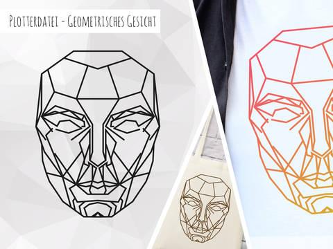 Plottervorlage Geometrisches Gesicht bei Makerist sofort runterladen