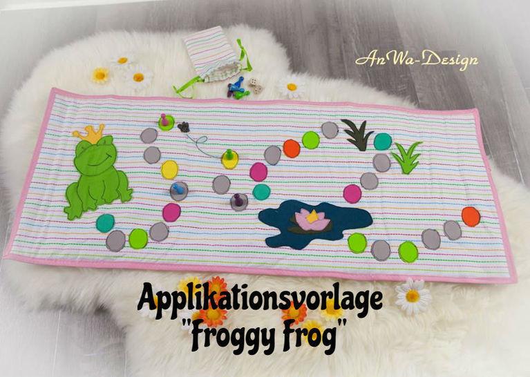"""Applikationsvorlage """"Froggy Frog""""  - Nähanleitungen bei Makerist sofort runterladen"""