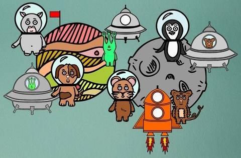 """Plotterserie """"Tiere im Weltall - Teil 2"""" bei Makerist sofort runterladen"""