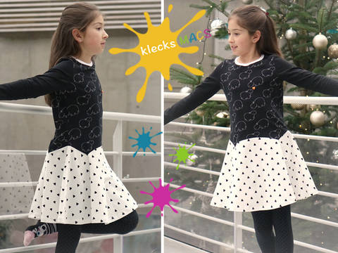 Download PDF Sewing Pattern Girls Dress - Straight / Trumpet Sleeves *Bluebell* immediately at Makerist