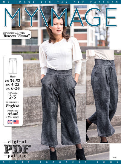 Download Trousers EMMA PDF Pattern + Tutorial - Sewing Patterns immediately at Makerist