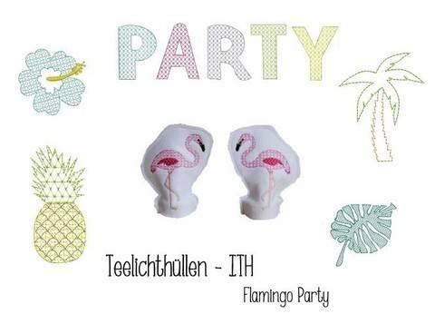 Stickdatei ITH - LED Teelichthülle Flamingo Party in PES bei Makerist sofort runterladen