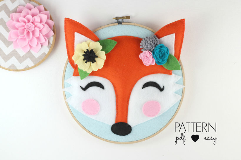 Download Boho Nursery Art Pattern - Woodland Fox Pattern - Tribal Fox Wall Art - Fox Felt Sewing Pattern - Felt Fox Pattern - Hoop Art - Sewing Patterns immediately at Makerist