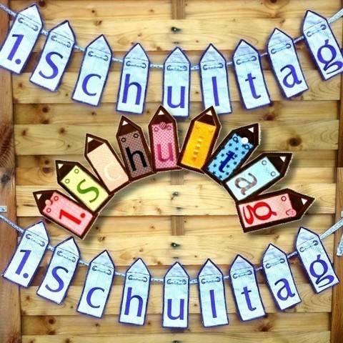 Wimpelkette 1. Schultag Einschulung 13x18 Stickdatei bei Makerist sofort runterladen