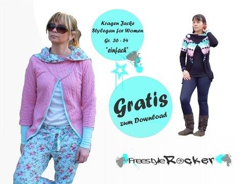 * Freestyle Rocker * Freebook * Stylegan for Woman * Kragenjacke bei Makerist sofort runterladen