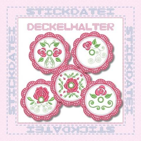 Crochet Roses Deckelhalter ITH 10x10 Stickdatei bei Makerist sofort runterladen