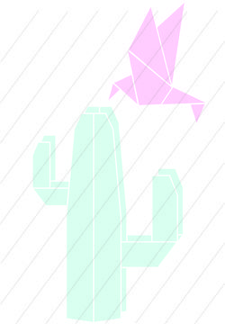 Download Cactus and hummingbird origami - cutting files - Cutting Files immediately at Makerist