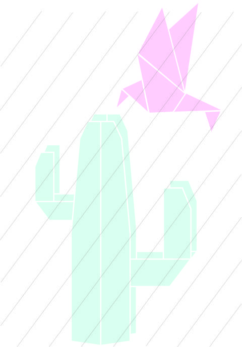 Download Cactus and hummingbird origami - cutting files immediately at Makerist