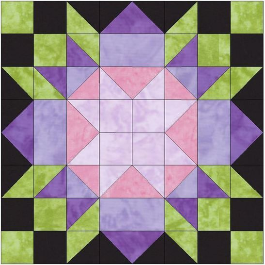 Download Rebecca's Flower 15 Inch Block Template Pattern PDF - Patchwork & Quilting immediately at Makerist
