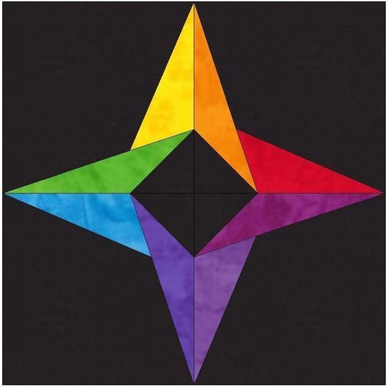 Download Incredible Rainbow Star 10 Inch Paper Piece Foundation Block Quilting Pattern - Patchwork & Quilting immediately at Makerist