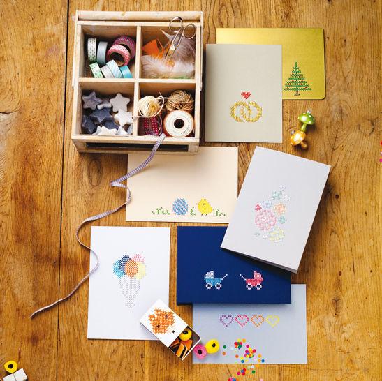 Grußkarten und Mini-Schachtel Stickanleitung - Stickmuster bei Makerist sofort runterladen