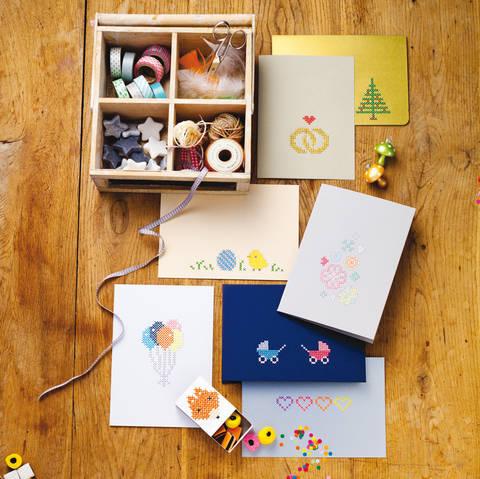 Grußkarten und Mini-Schachtel Stickanleitung bei Makerist sofort runterladen