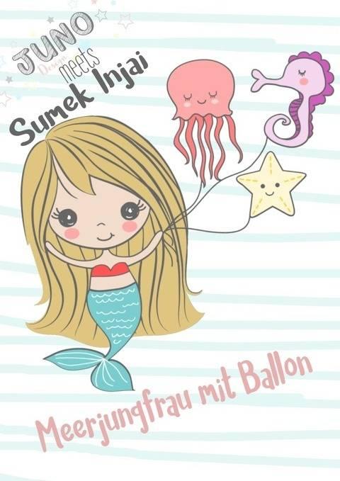 Plotterdatei Meerjungfrau m. Ballon und Meerestiere Gewerbelizenz  bei Makerist sofort runterladen