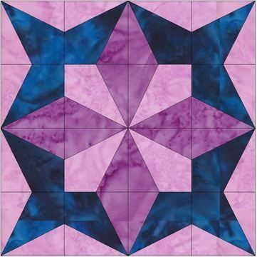 Download Petal Star 15 Inch Block Quilting Template Pattern - Patchwork & Quilting immediately at Makerist