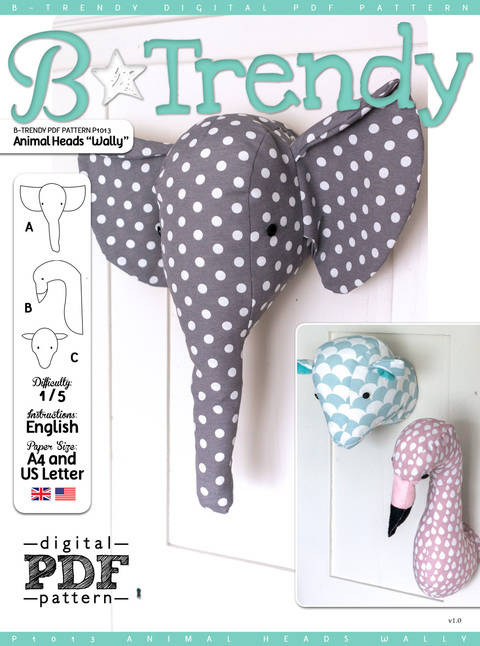 Download Animal Heads WALLY PDF Pattern + Tutorial immediately at Makerist
