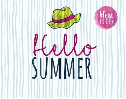 "Plotterdatei ""hello summer"" DXF PNG SVG - Herzideen bei Makerist sofort runterladen"