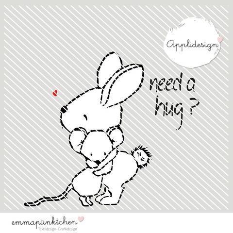 emmapünktchen ® - applikationsvorlage need a hug bei Makerist sofort runterladen