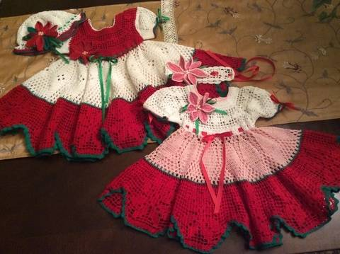 Download crochet baby christmas poinsettia and summer flower dress immediately at Makerist