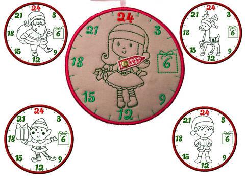 ITH Weihnachtsuhren SET1 Stickdatei 20x30 bei Makerist sofort runterladen