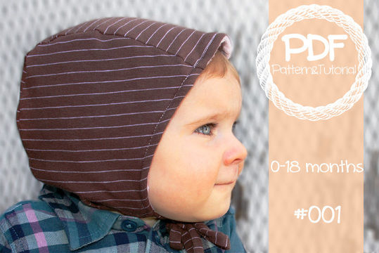 Download Brimless Baby Bonnet Sewing Pattern // Baby Sun Bonnet // Reversible Bonnet // Modern Bonnet // Animal Ear Bonnet // Hearing Aid Hat //  - Sewing Patterns immediately at Makerist