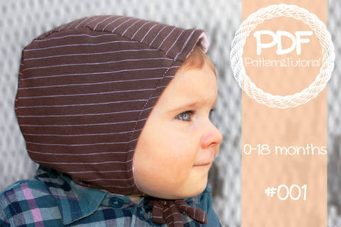 Download Brimless Baby Bonnet Sewing Pattern // Baby Sun Bonnet // Reversible Bonnet // Modern Bonnet // Animal Ear Bonnet // Hearing Aid Hat //  immediately at Makerist