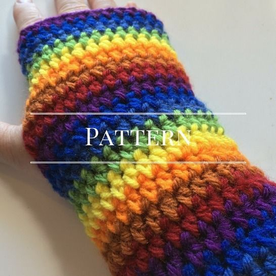 Download Rainbow Fingerless Glove, an Easy Pattern - Crochet Patterns immediately at Makerist