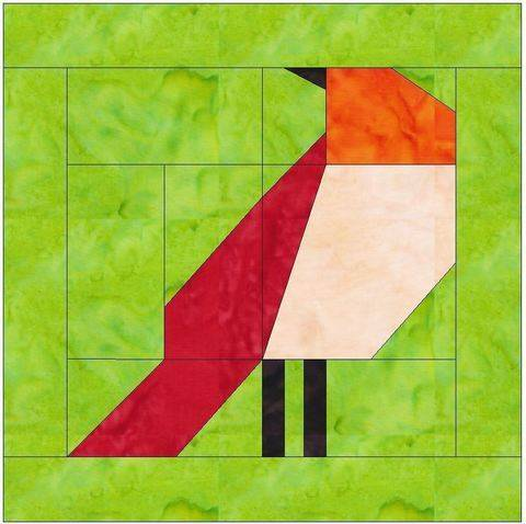 Download Bird 2 Paper Piecing Foundation Quilting Block Pattern immediately at Makerist