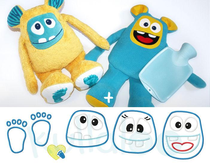 Schnittmuster Monster & Wärmflaschenbezug inkl. Stickdateien - Nähanleitungen bei Makerist sofort runterladen