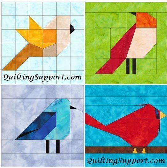 Download 10 Inch Birds Set 1 Paper Piecing Foundation Block Quilting Patterns - Patchwork & Quilting immediately at Makerist