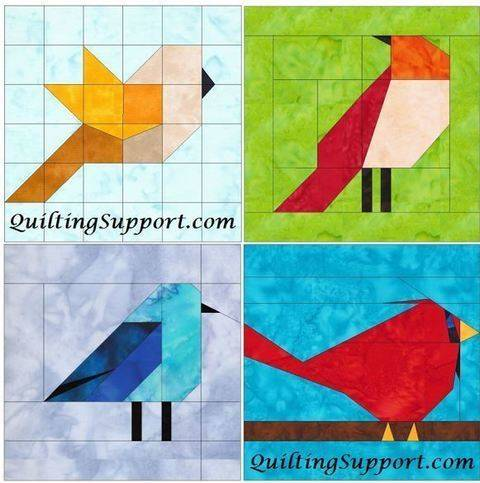 Download 10 Inch Birds Set 1 Paper Piecing Foundation Block Quilting Patterns immediately at Makerist