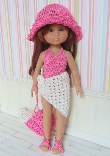 Download Marie on the beach : crochet outfit for 32-33cm doll - Crochet Patterns immediately at Makerist