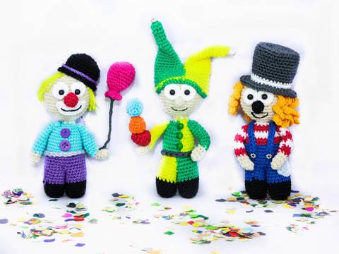 Flauschiges Clown Trio bei Makerist sofort runterladen