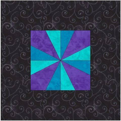 Download Framed Pinwheel 15 Inch Block Template Quilting Pattern immediately at Makerist