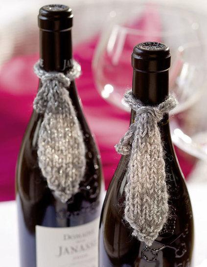 Flaschendeko Krawatte Strickanleitung