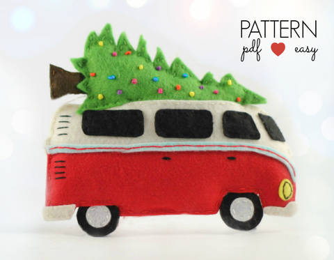 Download VW Bus Camper Christmas Ornament Pattern immediately at Makerist