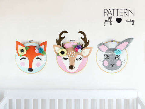 Download Woodland Nursery Decor Hoop Art Pattern Set - Faux Taxidermy - Sewing Patterns immediately at Makerist