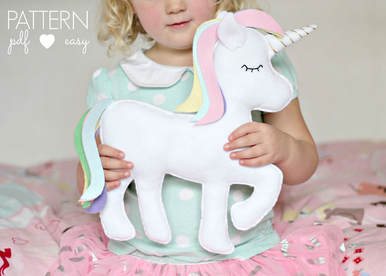 Download Felt Toy Unicorn Pattern - Unicorn Pillow - Unicorn Cushion, - Sewing Patterns immediately at Makerist