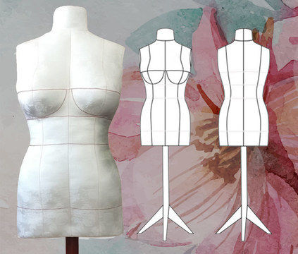 Download DIY Dress Form PDF Sewing Pattern, Size 14 (Bra Cups C,D & DD/E). Plus Complete Step-by-Step Sewing Photo-Guide. - Sewing Patterns immediately at Makerist