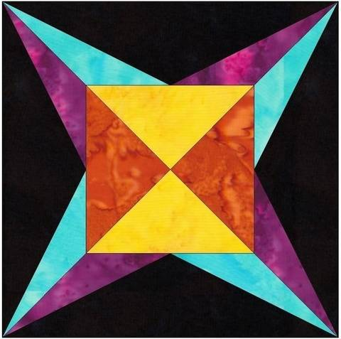Download Flame Star 6 Inch Paper Piecing Foundation Quilting Block Pattern immediately at Makerist