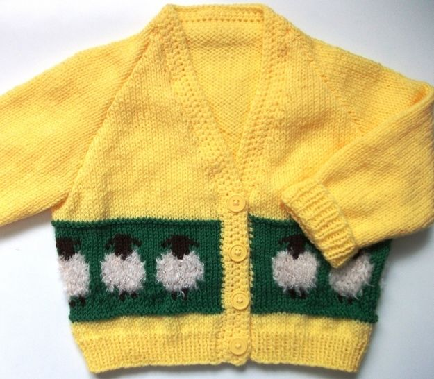 Download Sheepy Cardigan for Girls and Boys-detailed knitting pattern - Knitting Patterns immediately at Makerist