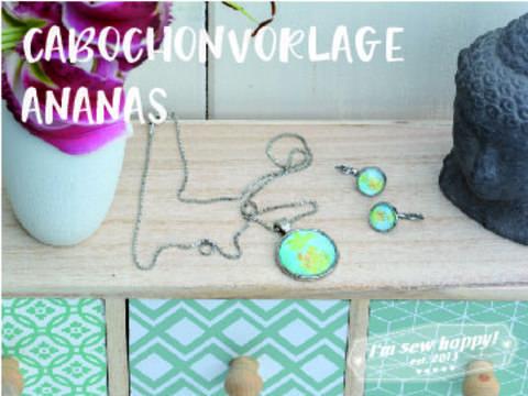 Druckvorlage für Cabochons mit Ananas in vielen Größen gewerbliche Nutzung bei Makerist sofort runterladen