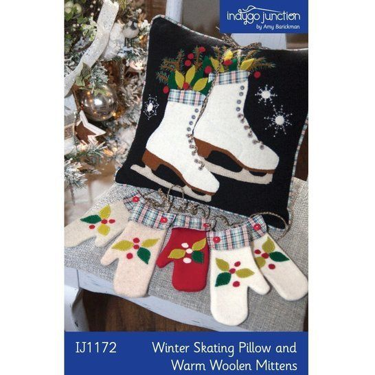 Download Winter Skating Pillow & Warm Woolen Mittens PDF Pattern - Sewing Patterns immediately at Makerist