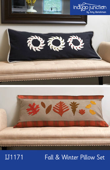 Download Fall and Winter Pillow Set PDF Pattern — Wool Applique Pattern - Sewing Patterns immediately at Makerist